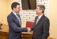 Володимир Прокопів з Генеральним секретарем Конгресу місцевих та регіональних влад Ради Європи паном Андреасом Кіфером